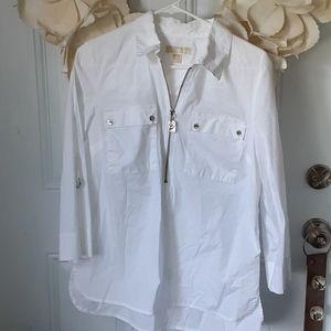 Michael Kors white zip up sexy top